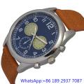 Montre en cuir à quartz en alliage de qualité supérieure Montre en cuir en cuir Blue Dial Japan Chronograph (15172)