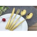 Vajilla de acero inoxidable Cucharas Tenedores Cuchillos Juego de cubiertos de oro Juego de cubiertos
