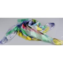 Lenço quadrado de seda 150600100804-4 da forma do lenço da listra de seda de 100%