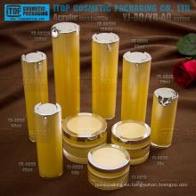 Alta gama doble capas de buena calidad venta caliente empaquetado cosmético de lujo personalizable redondo acrílico botellas y frascos de color
