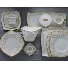 Nueva forma cuadrada Oriente Medio placas de porcelana de cerámica china de hueso