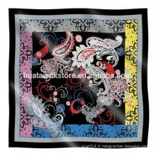 Écharpe en soie carré de haute qualité en gros