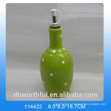Bouteille d'huile de céramique verte de haute qualité pour la vaisselle