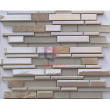 Stone and Matt Glass, Cream Color Ceramic Strip Mosaic (CFS647)