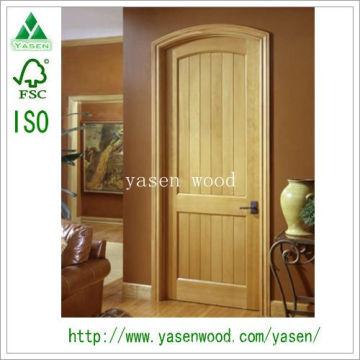 Factory Popular Knotty Interior Pine Wooden Door
