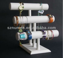 3 tiers white leather T-bar jewelry stand