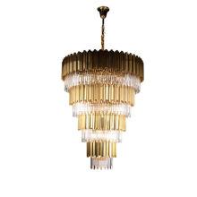Villa Luxury Crystal Tube Living Room Decorative Pendant Gold Chandelier