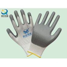 White Polyester Grey Nitrile Coated Procective Safety Work Gloves (N6007)