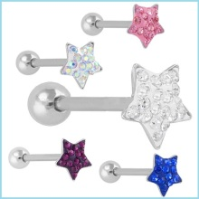 Star Top Tongue Ring CZ Crystal