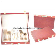 24PCS Cutlery Set with Wood Box