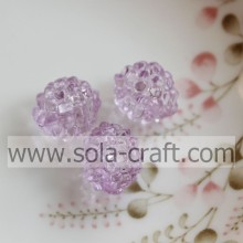 Decorative 12x14MM Light Purple Color Transparent Acrylic Berry Beads