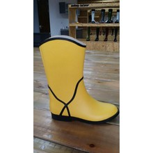 Banana Yellow And Black Rubber Rain Women Boots
