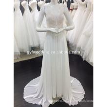 Alibaba mejor precio V-cuello sin mangas abierto trasero imperio de encaje gasa playa vestido de baile de las mujeres vestidos de novia A082