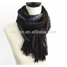 Men Fall/Winter 100% Wool Knitted plaid checks long Scarf with Tassel