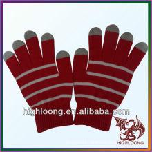 Women Double Layer Knit Winter Glove Red Stretch Nylon Arcylic Glove
