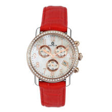 Stainless steel chronograph women watch