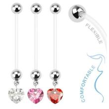 CZ Heart Pregnancy Belly Ring