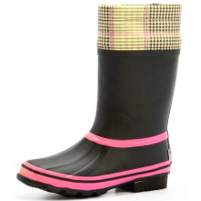 Pink And Black Women Rain Boots with Fabric Cover