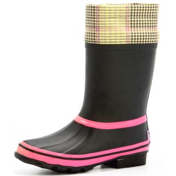 Rosa und schwarze Frauen Regen Stiefel mit Stoffbezug