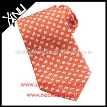 100% Handmade Neck Tie Custom Print Silk Tie Elephant Design