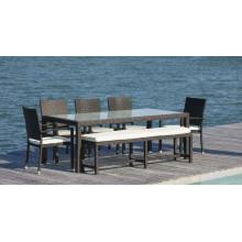 Outdoor Dining Set Garden Rattan Furniture 7PCS Zen Set in Black Wicker