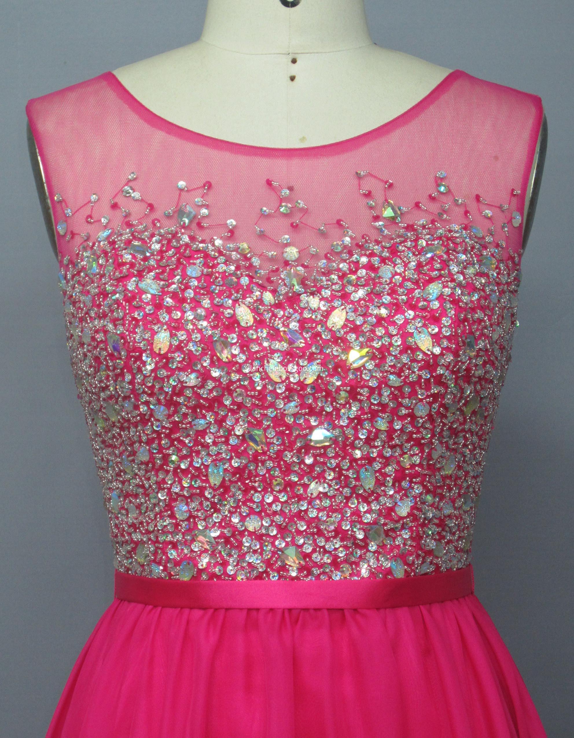 Illusion Short Neckline Dress
