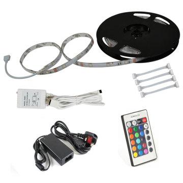 RGB 300LEDs 5050 SMD LED Klebeband Streifen Licht Kit + 5A Adapter IR Controller