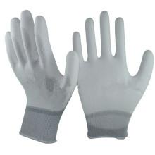 NMSAFETY PU LUVAS / 13G nylon branco forro / palm revestido branco PU Luvas