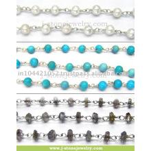 Schöne facettierte runde Form Perlen Edelstein Sterling Silber Kette Großhandel Perlen Edelstein Lieferant