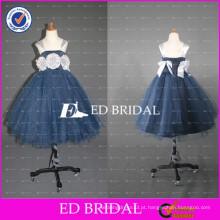 2017 ED Bridal Custom Made Cap Sleeve Sunepless Vestido de bola Gery Tulle Flower Girl Dress With Flowers
