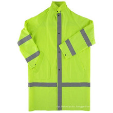 100%Polyester Oxford 150d, Ordinary Reflective Tape with Snap Buttons Raincoat