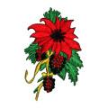 Molho De Flor De Poinsétia De Natal Bordado