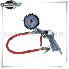 Red flexible hose tire inflator gun/vehicle tools inflation gauge/Dial type tire gauge