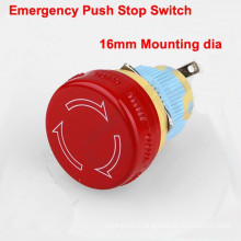 Factory supply high quality plastic 16mm mushroom emergency push button, push for stop ,turn to release button switch