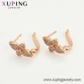 97382 xuping nouvelle arrivée élégance rose couleur or forme de fleur zircon dames boucles d'oreilles