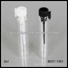 Botella de perfume del probador de cristal 2ml, botella de perfume del probador de cristal con el perno y el gancho, botella de ferfume del probador de cristal colorido