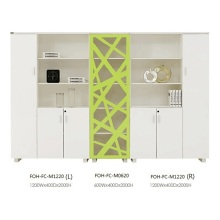 Beautiful Modern White and Green Large Open Office File Cabinet with Drawer (FOH-FC-M1220)