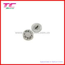 Wirtschafts-gravierte Logo-flache runde Metall-Schaft-Knopf