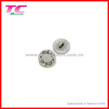 Economic Engraved Logo Flat Round Metal Shank Button
