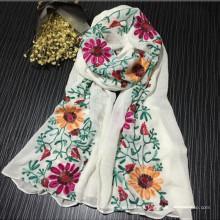 Moda Confortável Bonito china xale nova moda senhora algodão bordado lenço