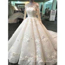 Zhongshan appliqued manga longa vestido de baile vestido de noiva 2017 WT268