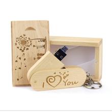 Wedding gift usb Wood rotary U-disk customized wood metal clip8gb 16gb 64gb USB flash drive