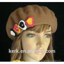 2015 nuevos sombreros marrones de encargo de las boinas del angora del invierno de la felpa para las señoras
