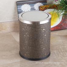 Caixa de lixo de empacotamento de aço inoxidável coberto de couro abstrato (F-12LC)