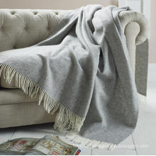 Woven Herringbone Merino Wool Blanket Throw