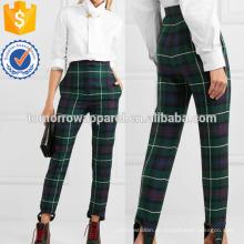 Tartan Wolle-Twill Slim-Bein Steigbügel Hosen Herstellung Großhandel Mode Frauen Bekleidung (TA3049P)