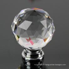 Bouton et poignée de quincaillerie en verre en cristal de mode de 40mm pour des meubles