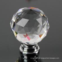 Moda 40mm Crystal Glass Gabinete Hardware Knob e punho para móveis