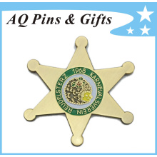 Metal Star Badge with Shiny Metal Background (badge-166)