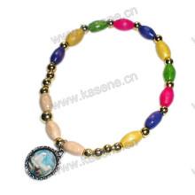 Multicolour Madeira Beads Elástico Moda Pulseira Religiosa